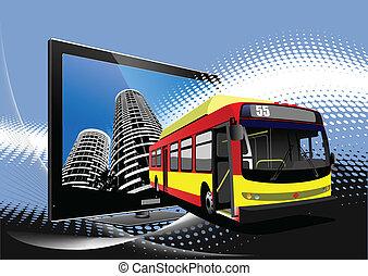 illustrati, bus., ベクトル, 都市, coach.