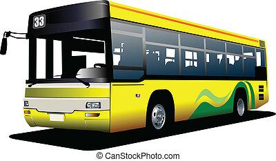 illustrati, bus., vektor, město, coach.