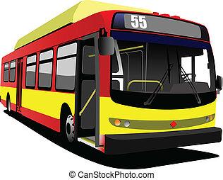 illustrati, bus., vetorial, cidade, coach.