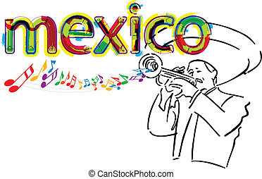 illustrati, mexicano, vector, mariachi.