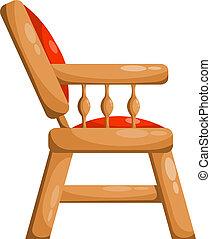 illustrati, vrijstaand, vector, chair., koninklijk, achtergrond., rood wit