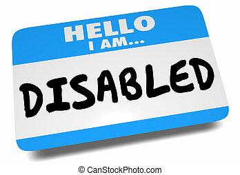 illustratie, 3d, invalide, label, hallo, naam, groet, sticker, woorden