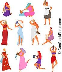 illustratie, achtergrond, ethnische , meisje, vrouwen, vrouwlijk, werper, set, gieten, lang, vrijstaand, vrouw, vector, haar, water, jurkje, kruik, dancing, witte , jugful., mooi, karakters