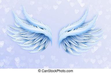 illustratie, achtergrond, groot, hartjes, licht, 3d, blauwe , vleugels, engel