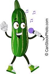 illustratie, achtergrond., vector, komkommer, witte , het zingen, microfoon