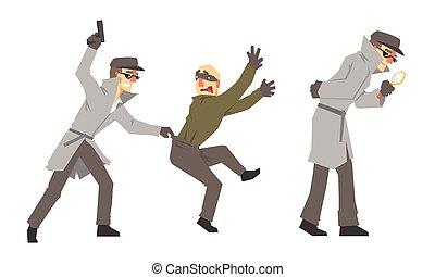 illustratie, achtergrond, vector, zich het gedragen, detective, onderzoek, witte , vrijstaand, geweer, vergrootglas, politie, set, particulier