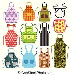 illustratie, apron, beschermend, voedingsmiddelen, het koken, huisvrouw, uniform, kok, cook, kleren, vector, ontwerp, textiel, kleding, keuken, katoen