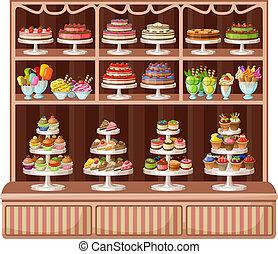 illustratie, bakery., winkel, vector, zoetigheden