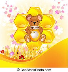 illustratie, beer, schattig