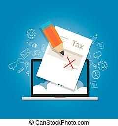 illustratie, belasting, regering, belasting, vergeven,...