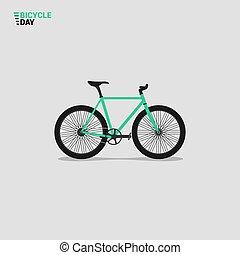 illustratie, berg, vector, fiets