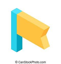 illustratie, bladwijzer, vrijstaand, gele, vlag, signifies, pictogram