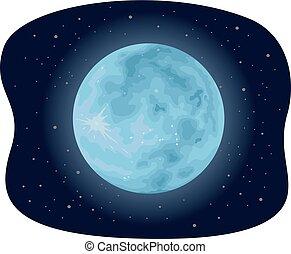 illustratie, blauwe maan