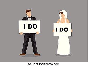 illustratie, bruid, bruidegom, vector