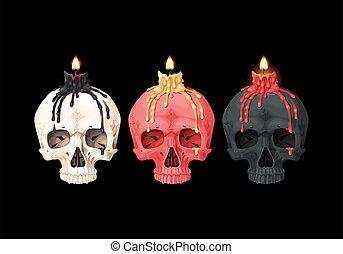 illustratie, burning, schedel, kaarsje
