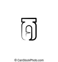 illustratie, capsule, fles, logo, pil, pictogram