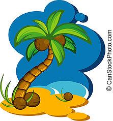 illustratie, cocosnoot, vector