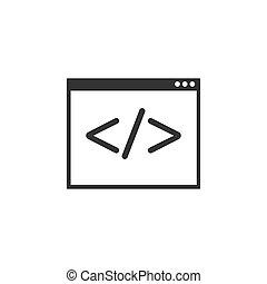 illustratie, code, design., web, vector, icon., plat