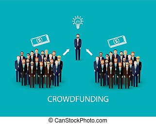 illustratie, concept., crowdfunding, vector, infographic, plat