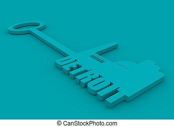 illustratie, concept, hand houdend, een, klee, van, detroit, industrie