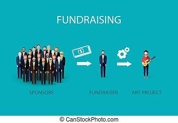 illustratie, concept., vector, fundraising, infographic, plat