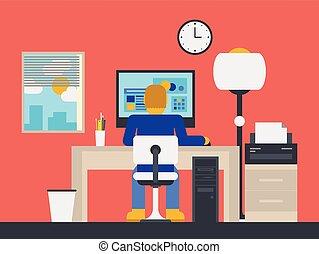 illustratie, directeur, aan het werk werkkring