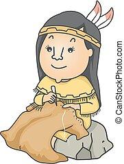 illustratie, doek, amerikaan, huid, meisje, buffel, inlander