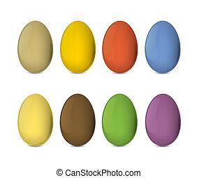 illustratie, eitjes, eps10., kleurrijke, realistisch, vector, pasen, set.