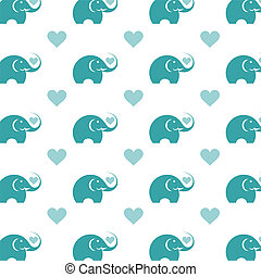 illustratie, elephant., vector, seamless, behang