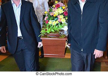 illustratie, foto's, -, begrafenis, ceremonie