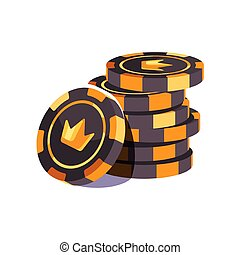 illustratie, frites, black , casino, pook, stack., goud