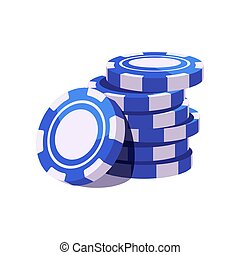 illustratie, frites, casino, pook, blauwe , stack.
