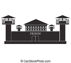 illustratie, gevangenis, gebouw