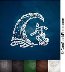 illustratie, golf, surfer, vector, getrokken, icon., hand
