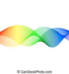 illustratie, golvend, vector, lines., kleurrijke