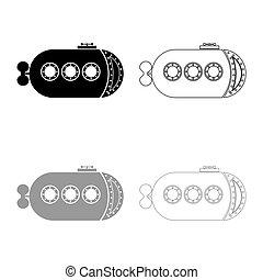 illustratie, grijze , schets, bathyscaphe, kleur, stijl, duikboot, plat, scheeps , set, pictogram, scheepje, vector, black , onderwater, beeld
