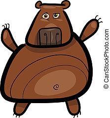 illustratie, grizzly, spotprent, beer