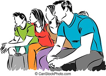 illustratie, groep, vector, vrienden