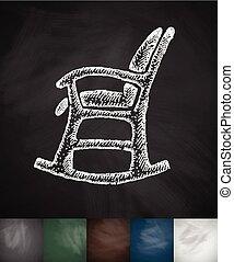 illustratie, hand, stoel, vector, getrokken, icon., wiegen