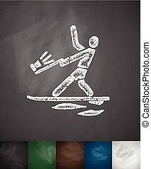 illustratie, hand, vector, getrokken, icon., water-skiing