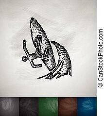 illustratie, hand, vector, golven, getrokken, icon., surfer