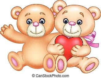 illustratie, hart, schattig, paar, teddy beer, het koesteren