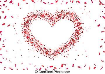 illustratie, hart, valentines, herfst, romantische, frame., trouwfeest, vakantie, liefde, vrijstaand, confetti, confetti, valentijn, achtergrond., witte , heart-shape., versiering, rood, design., vector, grens, card., groet, dag