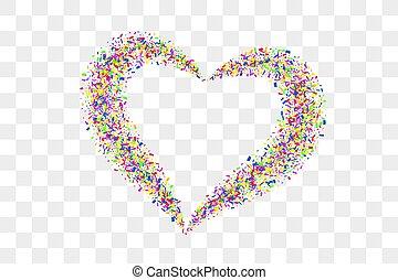 illustratie, hart, valentines, herfst, romantische, frame, trouwfeest, vakantie, liefde, vrijstaand, confetti, transparant, confetti, valentijn, achtergrond., witte , heart-shape., versiering, rood, design., vector, grens, card., dag
