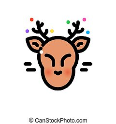 illustratie, hertje, vector, dune lijn, kerstmis