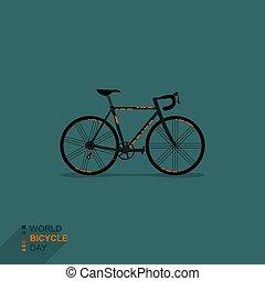 illustratie, het snelen, vector, fiets