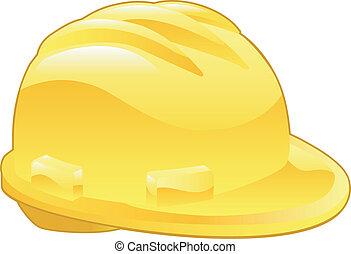 illustratie, hoedje, gele, hard, glanzend