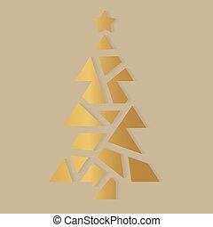 illustratie, icon-, kerstboom, vector, gouden
