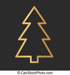 illustratie, icon-, vector, gouden, boompje, kerstmis