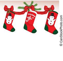 illustratie, kerstmis, kousjes